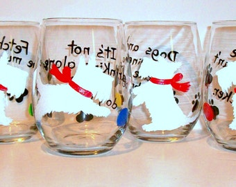 White Scottish Terrier Dog Silhouette Hand Painted Wine Glasses Set of 4 - 21 oz. Stemless Wine Glasses Glassware Scottie, Westie, Scotties