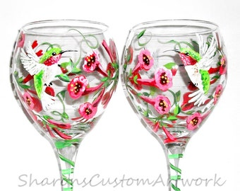 Single Glass Hand Painted Wine Glasse 1 - 20 oz.  Painted Glassware  for Mothers Day Humming birds Humming around the Trumpet Vine Flowers