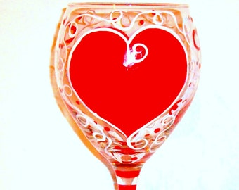 Valentine's Day Red Hearts Hand Painted  1 - 20 oz. Wine Glass Personalized Lover Gift for lover Girl Friend Wife Romantic One Glass