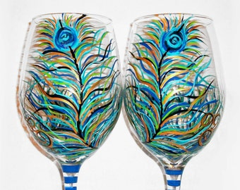 Peacock Feathers Peacock Blue Stem Hand Painted Set of 2- 20 oz. Wine Glasses Wedding Anniversary Birthday Gift For Her Wedding Glasses