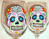 Sugar Skull Hand Painted Wine Glasses Set of 2 - Day of the Dead Dia de Los Muertos Mexican Tradition Celebration Sugar Skull Art Halloween
