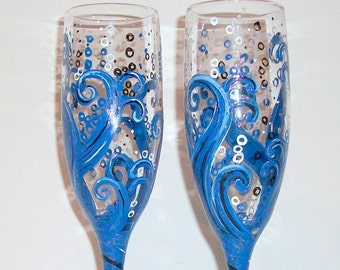 Wedding Glasses Ocean Blue Wave Hand Painted Set of 2 - 6 oz.  Champagne  Flutes  Deep Blues Silver Dark Blue / Wedding, Anniversary