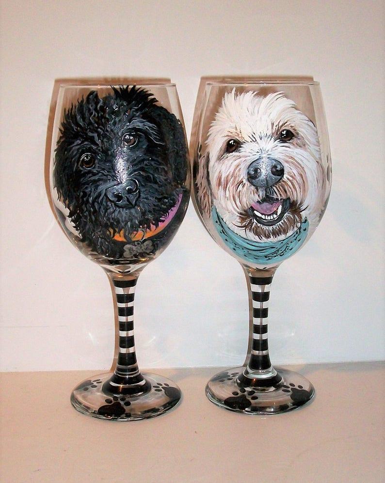 7bee9667c9a Custom Pet Portraits Hand Painted On 2 20 oz. Wine Glasses