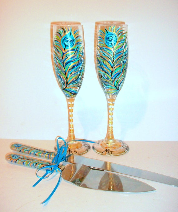 Peacock Feather Hand Painted Champagne Flutes And Cake Knife Etsy