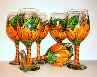 Thanksgiving Decor Pumpkins with Leaves & Vines Hand Painted Wine Glasses Set of 6 -20 oz White Wine Pumpkin Tableware Glassware Halloween