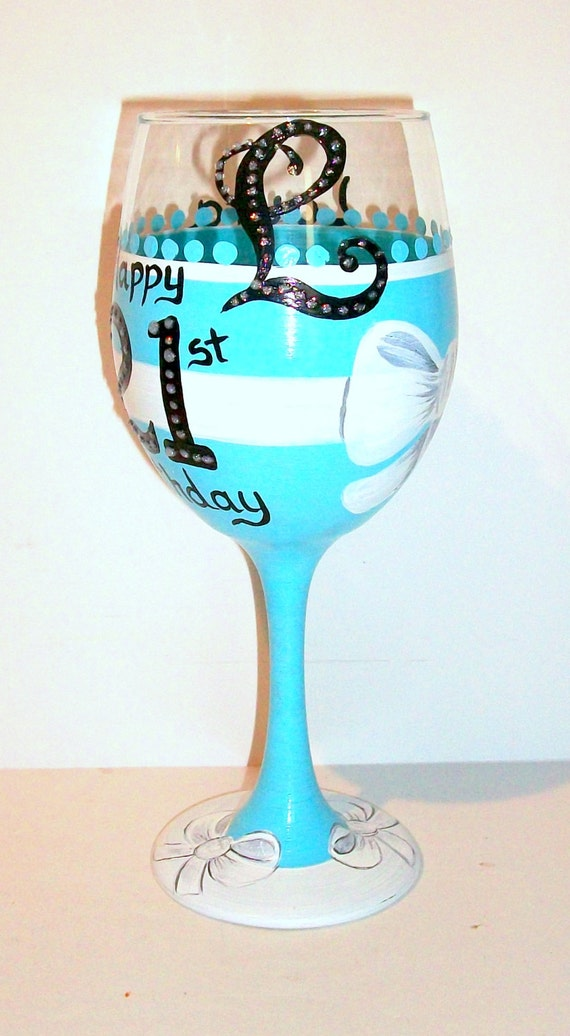 21st Birthday Hand Painted Wine Glass Name Age Happy