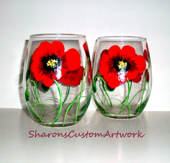 Poppies Hand Painted Wine Glasses Red Poppies Red Flowers Etsy
