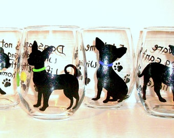 Chihuahua Silhouettes Hand Painted Stemless Wine Glasses Set of 4 - 20 oz. Stemless Wine Glasses Painted Glassware Made To Order