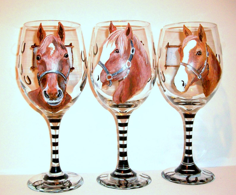 2d88df39be2 Custom Horse Portraits Set of 3 Hand Painted Wine Glasses Your