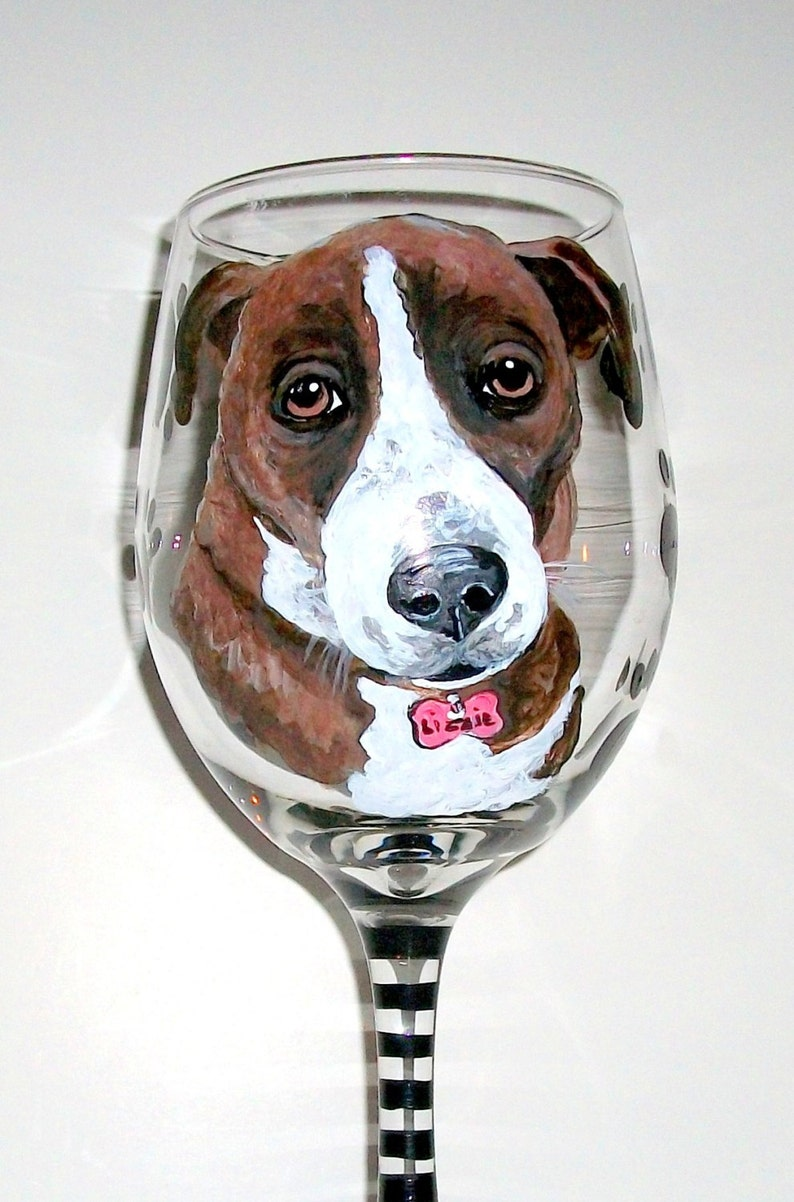Wine Glass Pets Pet Lover Dog Cat Horse Gift Painted Glassware Paw Prints Name Pet Portrait Hand Painted Wine Glass Custom on 1-20 oz