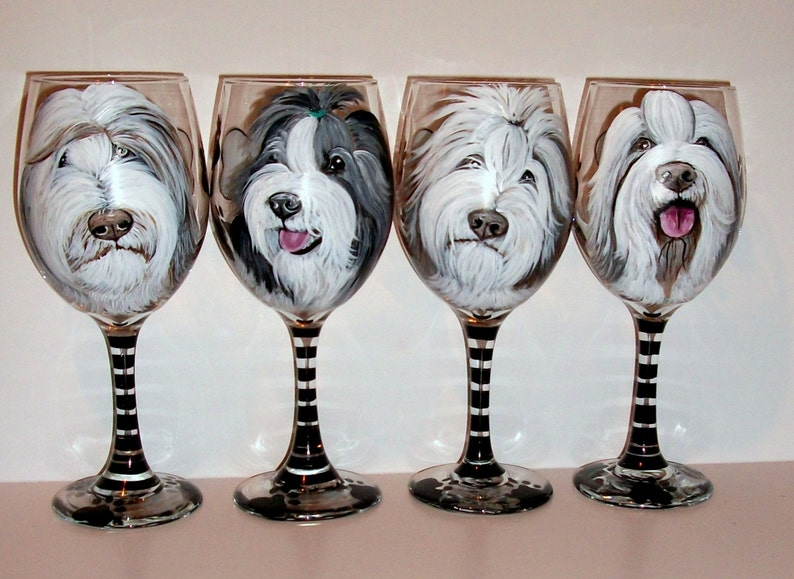 abe5bf0a06d Bearded Collies Hand Painted Wine Glasses Custom Pet Portrait