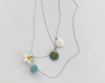 Chains Necklace with turquoise stone, needle lace and pompon