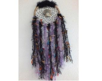 Dream Catcher Black Purple Color, Interior Design, Wall art,  Handmade Ornament, Wall Hanging Home Decoration Ornament