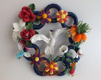 Colorful Front Door Wreath, Interior Design, Wall art Cocoons, Silkworm Cocoons, Door Wall Art Trim, Handmade Ornament