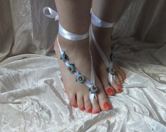Bridal Barefoot Sandals, Beach, Yoga Wedding, Pool, Foot jewelry, Bridesmaid Gift, Toe Anklet, Lace Shoes, Blue