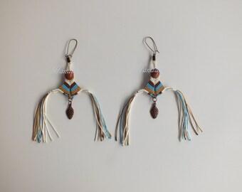 Macrame Goldstone Earrings, Blue Golden Brown Cream Earrings, Gift