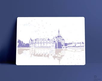 Carte postale, illustration Château de Chantilly, France