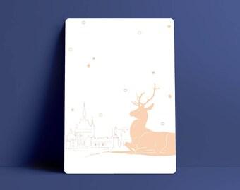 Cerf de carte postale, Château de Chantilly illustration, France
