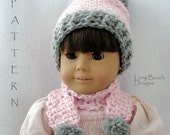Crochet Pattern Doll Pom Pom Beanie and Matching Scarf, hat pattern for Bitty Baby, American Girl or 18 inch doll