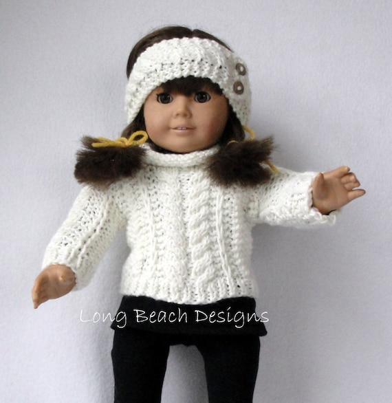 Knitting PATTERN Doll Aran Sweater and Warmer Set for | Etsy