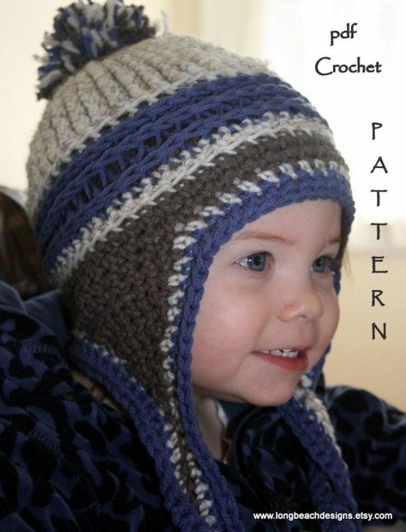 fafc99f2 Crochet Beanie Pattern Ear Flap Crochet Pattern Kids image 0 ...