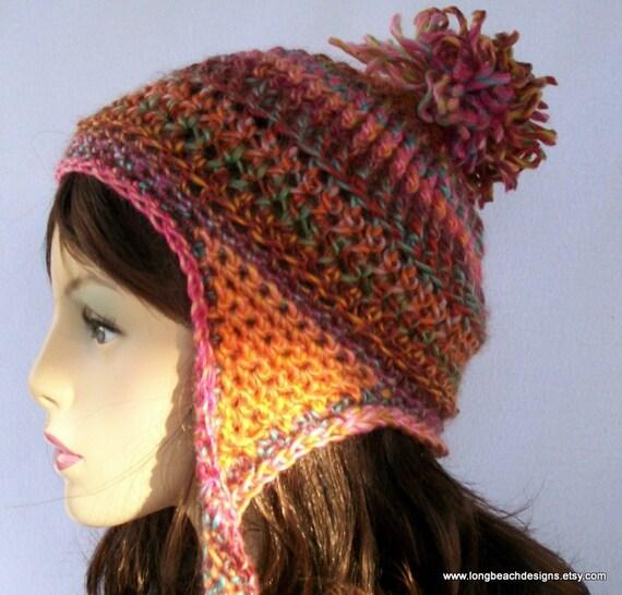 Crochet Ear Flap Hat Pattern Ribbon Candy Earflap Beanie Etsy
