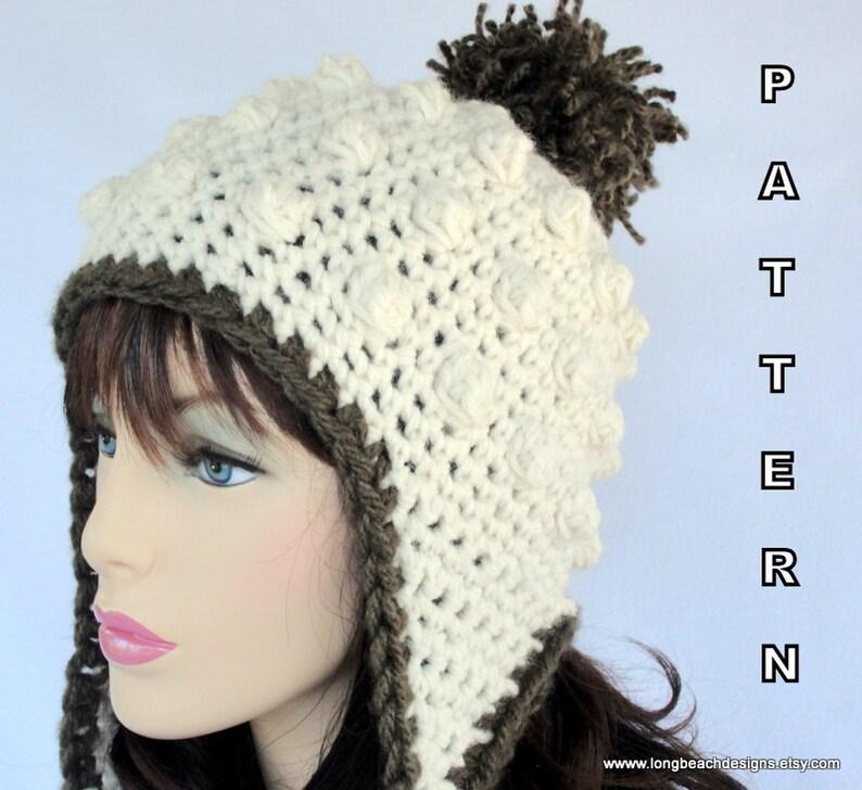 7b375acb Crochet Ear Flap Hat PATTERN Sugar Mountain Earflap Hat | Etsy