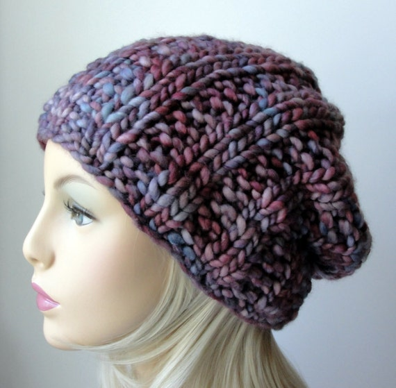 Knitting Pattern Knit Slouch Beanie Pattern Chain Link Etsy