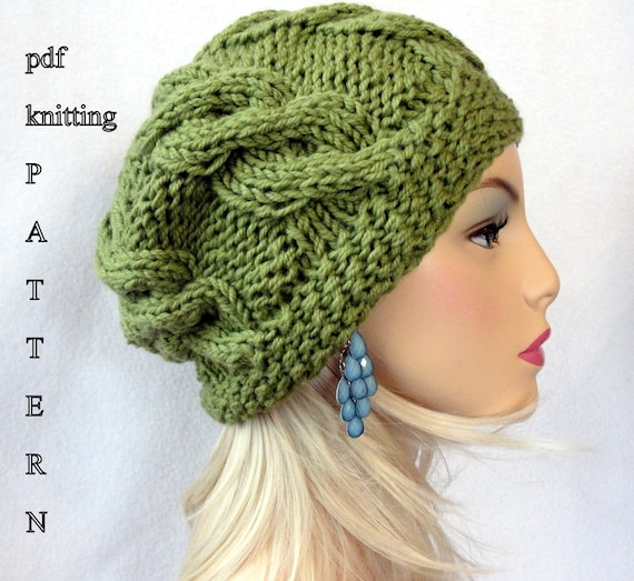 Knitting Hat Pattern Knit Slouch Beanie Pattern Knit Etsy