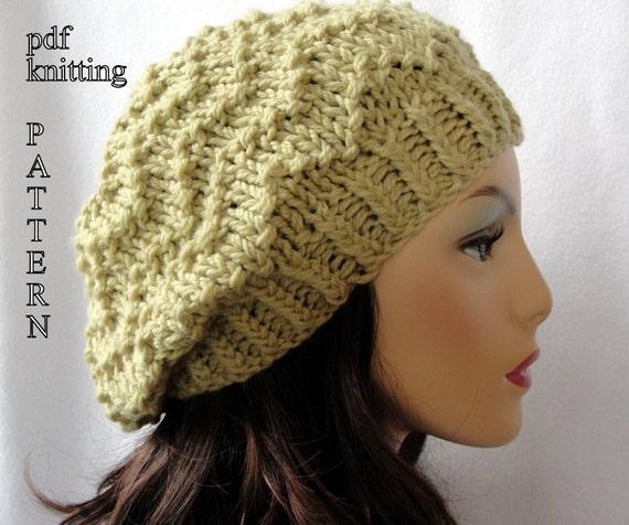Knitted Hat Pattern Knit Slouch Beanie Pattern Knit Chevron