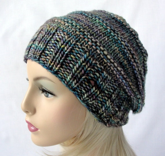 Knitting Pattern Knit Slouch Beanie Pattern Picket Fence Etsy