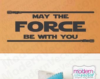 Star Wars devis vinyle mural Sticker autocollant lettrage mai la Force soit avec vous chambre Star Wars film thème garçons filles