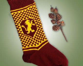 Gryffindor Inspired Christmas Stocking Knitting Pattern Instant PDF Download Knitting Pattern Gryffindor Wizard House Inspired Stocking