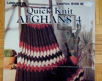 Vintage Knit Afghan Patterns Instant Download PDF Quick Knit Afghans 4, 1990 3 Knit Afghan Vintage Patterns Afghan Knitting Patterns