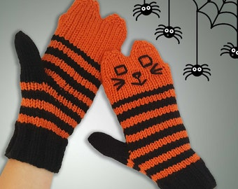 Halloween Cat Mittens Orange & Black Striped Cat Mittens - Knit Cat Mittens Vegan Mittens - Halloween Mittens - Knit Animal Mittens