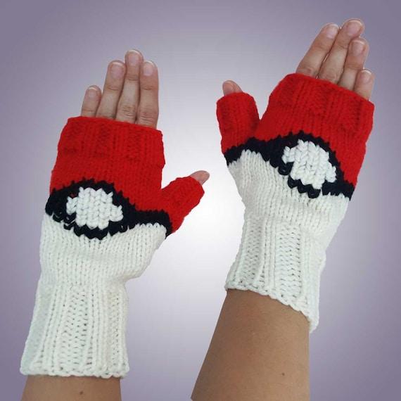 Pokemon Fingerless Gloves Pokemon Inspired Knit Pokeball | Etsy