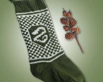 Slytherin Inspired Christmas Stocking - Green & Grey w Serpent Slytherin House Stocking - Hogwarts Wizard Inspired Knit Christmas Stocking