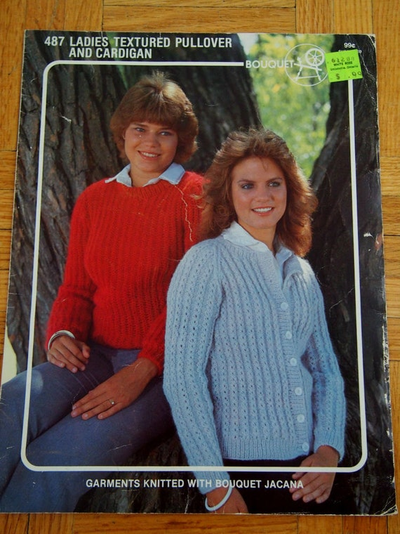 Womens Vintage Knit Sweater Patterns Textured Pullover Etsy