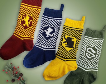 Wizard Christmas Stockings Knitting Pattern Bundle Instant PDF Download Gryffindor Slytherin Ravenclaw Hufflepuff Patterns All Four Houses