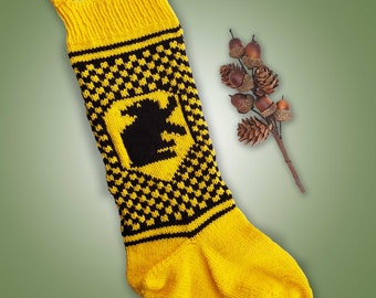 Hufflepuff Inspired Christmas Stocking Knitting Pattern Instant PDF Download Knitting Pattern Hogwarts House Inspired Christmas Stocking