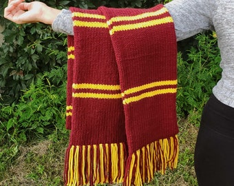 Wizard Scarf Knitting Pattern Instant PDF Download Pattern - Gryffindor, Slytherin, Ravenclaw, Hufflepuff Inspired House Scarf Pattern