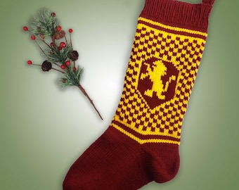 Gryffindor Inspired Christmas Stocking - Red & Gold with Lion Gryffindor Wizard House Inspired Stocking Knit Christmas Stocking Maroon Lion