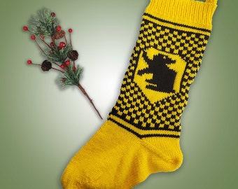 Hufflepuff Inspired Christmas Stocking - Yellow & Black w Badger House Stocking - Knit Hogwarts Wizard Inspired Christmas Stocking