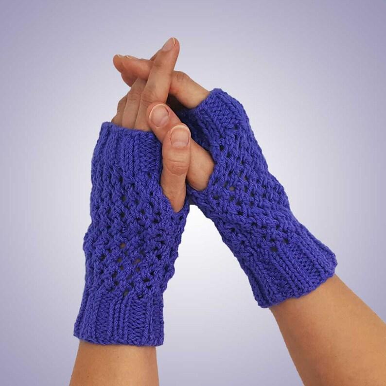 Purple Knit Fingerless Gloves Cotton Knit Texting Gloves ...