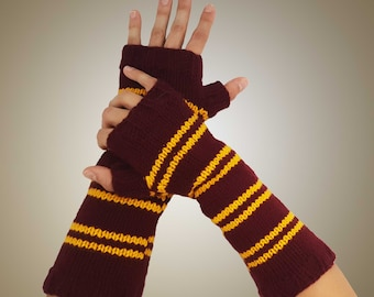 Gryffindor House Inspired Striped Armwarmers - Fingerless Gloves - Wristwarmers - Red & Gold Knit Fingerless Mittens Wizard Inspired Cosplay