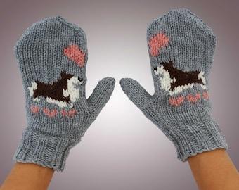 Corgis In Love Mittens - Hand Knit Grey Corgi Mittens with Brown / Brindle Cardigan Welsh Corgis & Joining Hearts - Vegan Animal Mittens
