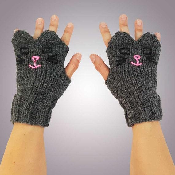 Stricken Handschuhe graue Katze stricken dunkel graue Katze | Etsy