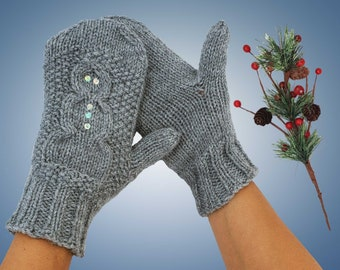 Snowman Mittens Hand Knit Grey with Sequins Cute Knitted Vegan Mittens Gray Knit Snowman Mittens Handknit Winter Mittens with Snowman