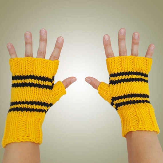 Harry Potter Inspired Hufflepuff Fingerless Gloves Texting   Etsy