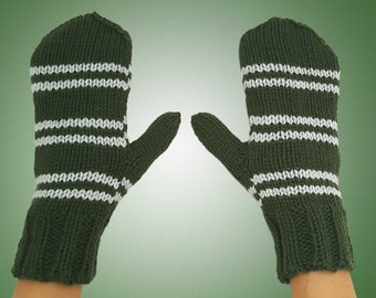Slytherin Inspired Mittens - Green & Silver Grey Stripes Hand Knit Mittens - Wizard House Inspired Costume Accessory Mittens